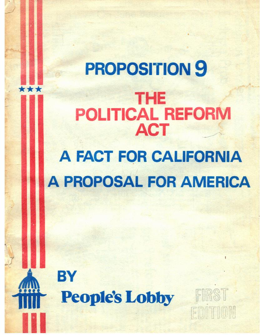 Caliifornia's Political Reform Act 1974