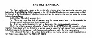 16 state Western Bloc Safe Energy Initiative Campaigns 1974--